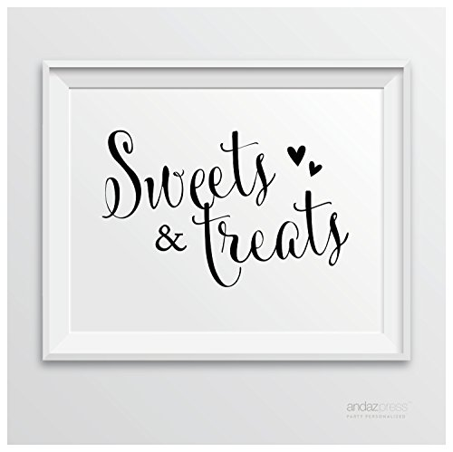Black And White Sign (Andaz Press Wedding Party Signs, Formal Black and White, 8.5-inch x 11-inch, Sweets & Treats Dessert Table Sign, 1-Pack)