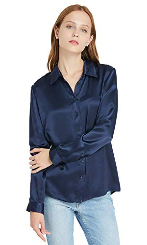 LilySilk 100 Silk Shirts for Women Long Sleeve 90s 22 Momme Charmeuse Button Ladies Blouse XXL Navy Blue