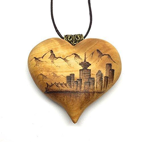 Wooden Heart Pendant - Heart Pendant with Vancouver Skyline (Pendant Skyline)