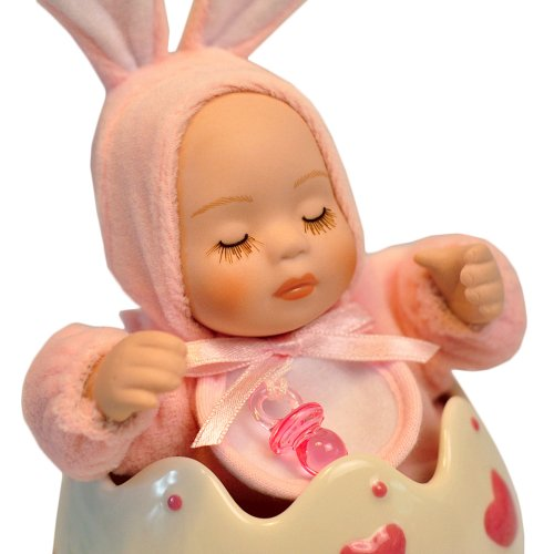 UPC 719575834049, Swing Baby Music Box Wearing Plush Pink Rabbit Costume in a Ceramic Eggshell