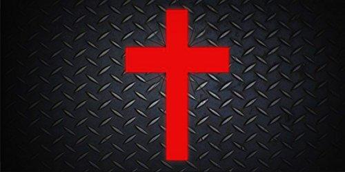 Diamond Cross Mounting - Red Cross On Black Diamond Photo License Platefor Home/Man Cave Decor by PrettyMerchant