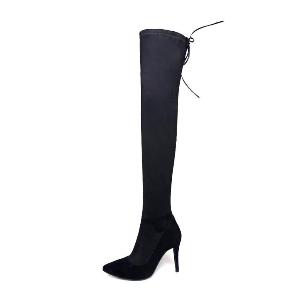 Leder 2018 Frühling und Herbst und Winter Neue Over The Knie Stiefel Stiefel Lange Stiefel elastische Stiefel Stiletto High Heel Matte Damen Stiefel (Farbe   SCHWARZ, größe   35)  | Elegante Und Stabile Verpackung