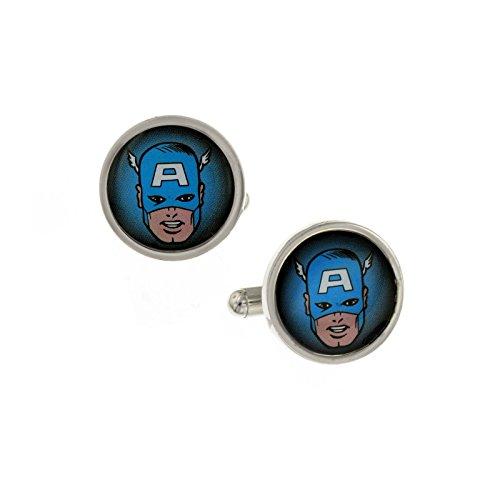 Marvel Comics Jewelry Captain America Lionhearted Blue Enamel Face Cufflinks Cuff Links 1147 (Captian America Costume)