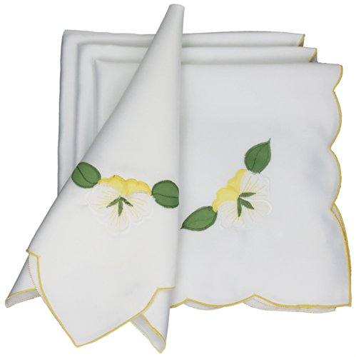 Xia Home Fashions Embroidered Spring Napkins, 21 by 21-Inch, Yellow Lily, Set of ()