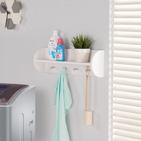 Danya B. White Utility Shelf with Four Large Stainless Steel Hooks - Four Utility Shelves