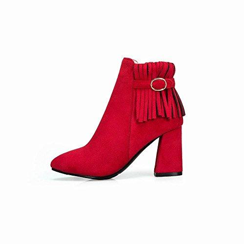 Tassels Western Zip High Women's Heel Short Boots Red Carolbar w41qE5O