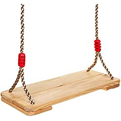 Childhood Wooden Hanging Swings for Kids to Adults with 220 lbs Capacity 6.8 to 7.5 ft Nylon Rope Each Side