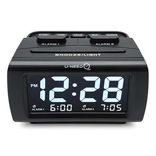 U-needQ Easy Use Large Time Display Dual Alarm Digital Desk Clock with Dimmer, Snooze Function, USB Charging Port
