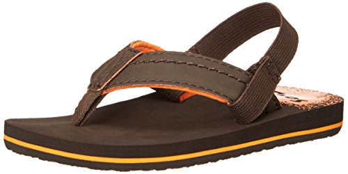 Sanuk Kids Straight Shot Boys Flip Flop ,Brown,3-4 M US Litt