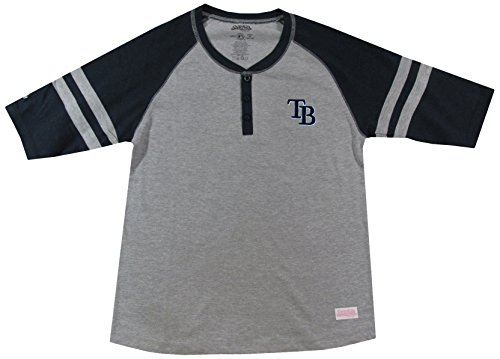 (MLB Tampa Bay Rays Girl's Colorblocked Henley Top, Grey,)