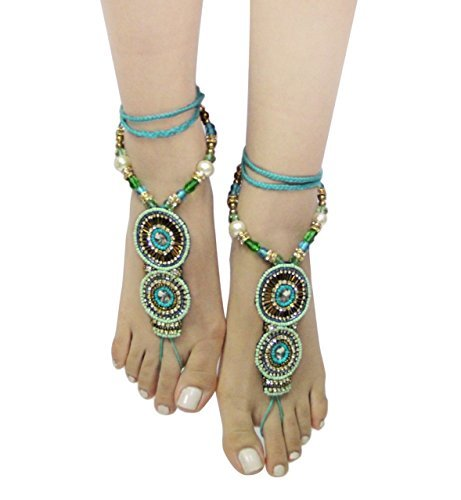 Bohemian Style Seed Bead Barefoot Sandals (Blue/Green)