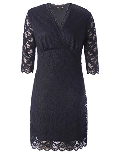 Chicwe Women's Stretch Plus Size Scalloped Boudoir Lace Dress Black 1X