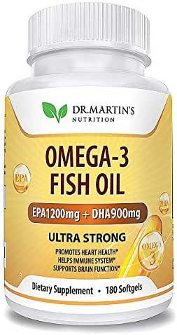 Omega-3 Fish Oil 3750mg Triple Strength - 180 Burpless Softgels | EPA 1200mg + DHA 900mg | 100% Organic & Natural | New Formula | Promotes Healthy Heart, Immune System, Eyes, Skin & Brain Function