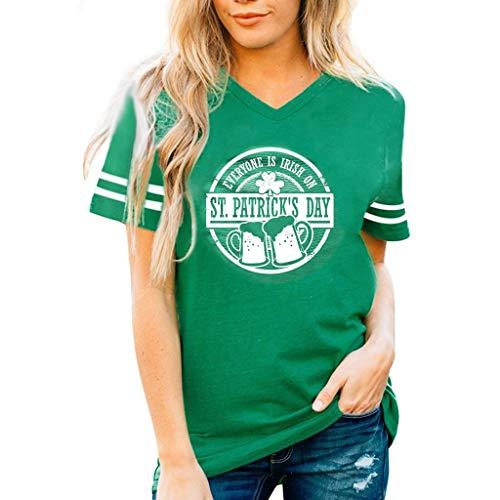 Botrong T Shirts for Women, St. Patrick's Day Green V-Neck Blouse Short Sleeve Tank -