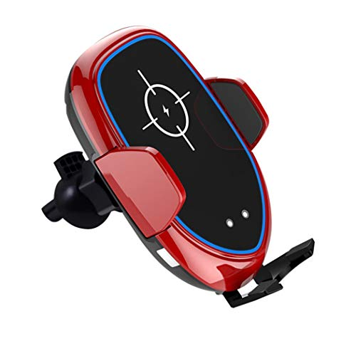 Trestle Single Light - WUS Car Phone Holder,Car Windscreen Phone Mount,Qi Wireless Charging Mobile Phone Stand,with 360°Adjustable,Electric Locked,Suction Cup,Red