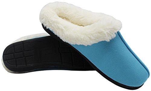 Luxehome Dames Gezellig Fleece Pluche Huisje Slipper1-01 Blauw