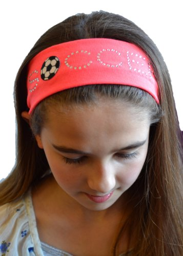 Amazon.com  SOCCER BALL Rhinestone Cotton Stretch Headband Funny Girl  Designs (Black)  Clothing 4e510eed468