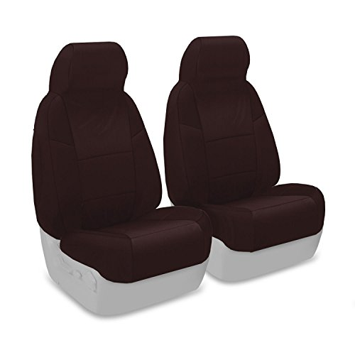 Coverking Custom Fit Front 50/50 Bucket Seat Cover for Select Volvo 240/244/245 Models - Polycotton Drill (Wine) (Volvo 240 Seat Covers)