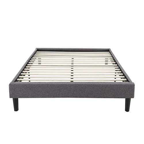 Divano Roma Furniture Modern Grey Linen Fabric Platform Bed with Wooden Slats (King)