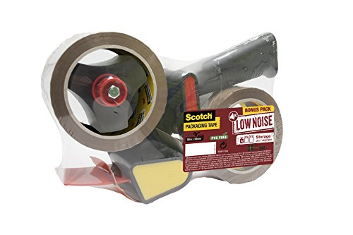 3M Scotch Heavy Duty Pistol Grip Dispenser - One-Hand Packaging Tape Dispenser incl. 2 Rolls of Scotch Storage Tape (50 mm x 66 m)