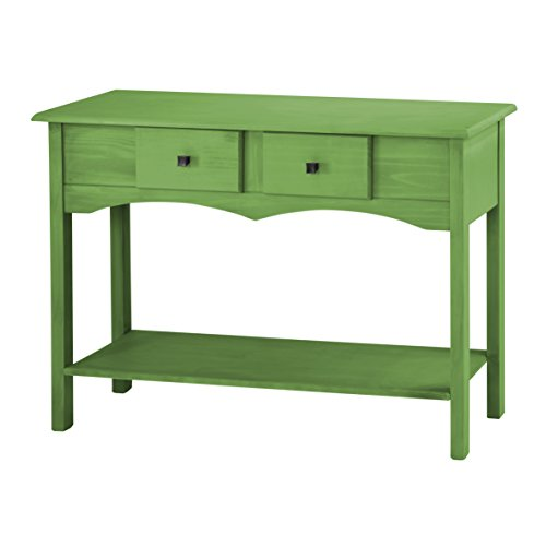 Manhattan Comfort Jay Collection Modern Wooden Entryway Table with Two Drawers and One Shelf, Green by Manhattan Comfort