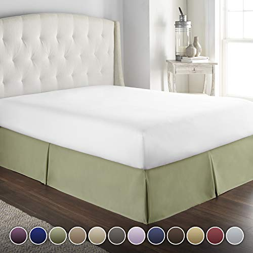 Hotel Luxury Bed Skirt/Dust Ruffle 1800 Platinum Collection-14 inch Tailored Drop, Wrinkle & Fade Resistant, Linens (Queen, Sage)