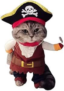 KTNE Funny Dog Ropa para Mascotas, Pirata del Caribe Disfraz de Gato con Suave y Confortable para Juegos de rol de Halloween para Perros Gato con Sombrero,XL: Amazon.es: Deportes y aire libre