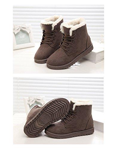 Scarpe Da Donna Eshion Inverno Caldo Alla Caviglia Con Lacci Da Neve Scarpe Basse Sneaker Platform Nere