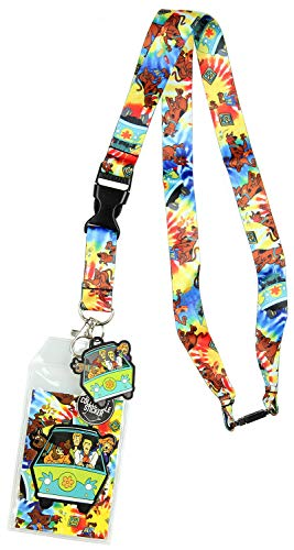 Scooby Doo Tie Dye Lanyard Keychain ID Holder Mystery Machine Rubber Charm and Sticker ()