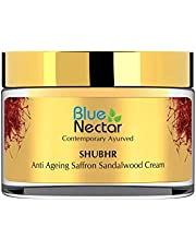 Blue Nectar Anti Ageing Day and Night Brightening Face Cream for Wrinkles with Pure Saffron Sandalwood (No Parabens or Mineral Oil) (50GM, 1.7 fl oz)