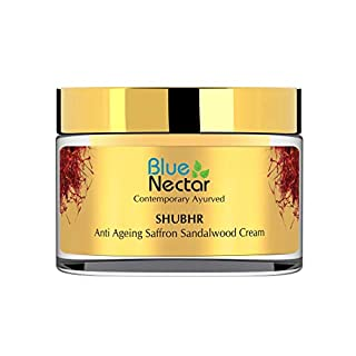 Blue Nectar Anti Aging Face Moisturizer - Natural Ayurvedic Sandalwood Saffron Cream for wrinkles and fine lines.