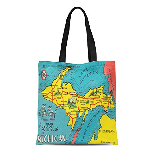 Semtomn Cotton Line Canvas Tote Bag Colorful Midwest Vintage Upper Peninsula Michigan United States Map Reusable Handbag Shoulder Grocery Shopping ()
