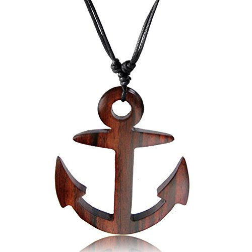 Earth Accessories Adjustable Anchor Pendant Necklace with Organic -