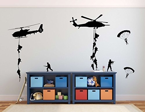 Cheap  Army Wall Decals, Soldiers Parachuting From Helicopters Personalized for Kids Playroom, Children,..