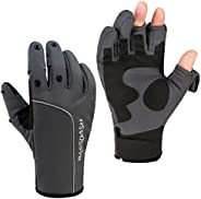 BASSDASH WintePro Insulated Fishing Gloves Water Repellent with Fleece Lining Cold Weather Winter Gloves for M
