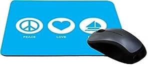 Rikki KnightTM Peace Love Boat Sky Blue Design Lightning Series Gaming Mouse Pad