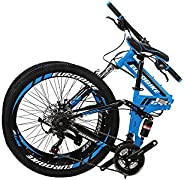 G4 Folding Bicycle Mountain Bike 21 Speed 26 Inches Dual Suspension K Spoke Wheel for Mens/Womens