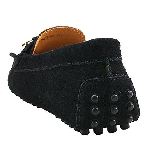 Damen Schuhe Schwarz Mokassins D7066 Metallschnallen Slippers Casual Leder und Bommel Shenduo mit RHOqdwO