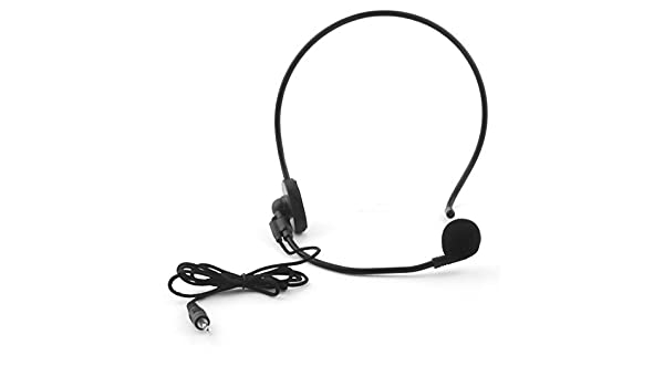 Amazon.com: eDealMax montado en la cabeza conector DE 3,5 mm Con Cable de diadema Boom Headset Micrófono condensador Mic: Electronics