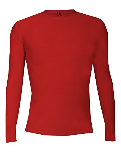 Badger Sport Red Adult Small Pro-Compression Long Sleeve Crew Performance Sports Poly/Spandex Shirt -