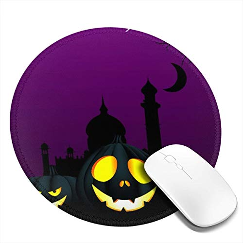 Sroney Round Mouse Pad Purple Halloween Background Rectangle Non-Slip Rubber Mousepad Gaming Mouse Pad with Stitched Edge for Laptop, Computer & PC 7.9x7.9 -