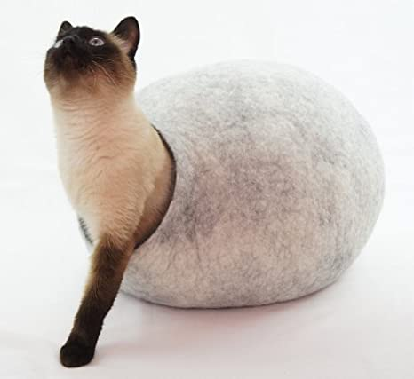 Cama de gato, casa, Cave. Fabricada a mano. feutré de lana natural