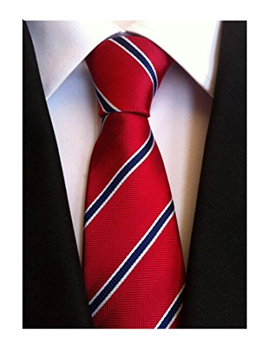 Secdtie Men's Classic Striped white,Blue Jacquard Woven Silk Tie Necktie Red