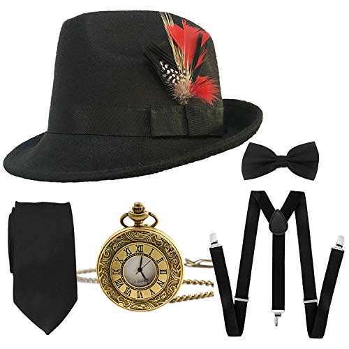 1920s Mens Gatsby Costume Accessories,Manhattan Fedora Hat w/Feather,Vintage Pocket Watch,Suspenders Y-Back Trouser Braces,Pre Tied Bow Tie,Tie (Black-Black) -