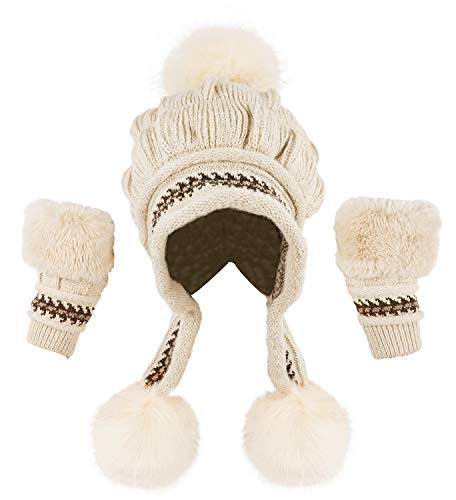 - Bellady Women Knit Beanie Winter Ski Hat Cap with Earflap Pom Glove Set,Beige