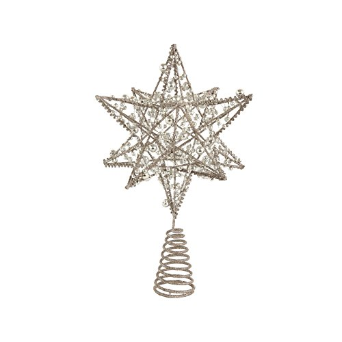 (Creative Co-op Silver Wire 3-D Star Tree Topper)