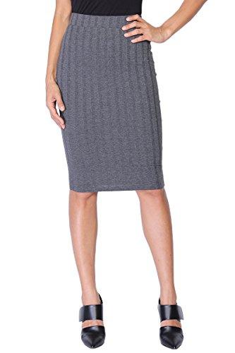 TheMogan Women's Ribbed Knit Bodycon Pull On Midi Pencil Skirt Charcoal S