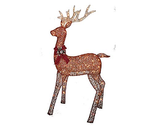 BL Stores - 12-105046-A - Glittering Buck - Lighted - Brown (5 Feet Tall) (Decorations Outdoor Reindeer)