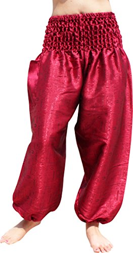 RaanPahMuang Textured Thai Silk Smock Waist MC Hammer Dance Pants with Pocket, Medium, Crimson Red