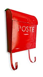 NACH French Euro Rustic Mailbox, Red